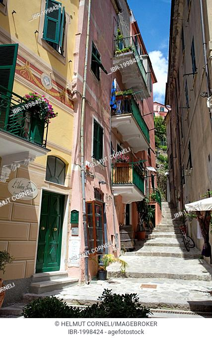 Old town alley, Monterosso al Mare, Cinque Terre, La Spezia Province, Parco Nazionale delle Cinque Terre national park, UNESCO World Heritage Site, Liguria