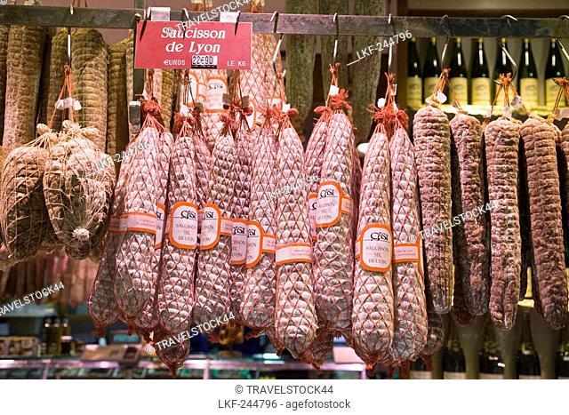 Les Halles de Lyon Paul Bocuse, Gourmet market, Saucisson de Lyon, Lyon, Rhone Alps, France