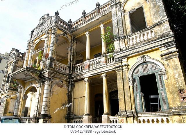 Semi-derelict colonial building, Phnom Penh, Cambodia