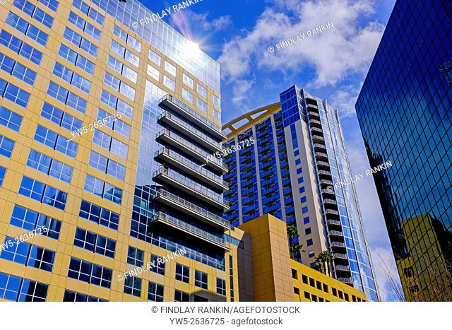 Modern office blocks and apartments near East Church Street, Downtown Orlando, Florida, America