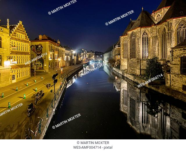 Belgium, Ghent, old town with St. Michaelis Church