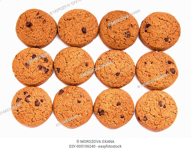 Delicious chocolate chip cookies on white background