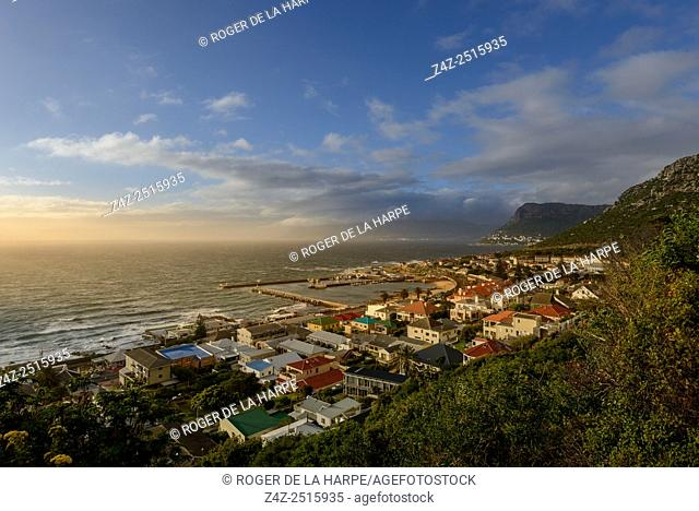 View over Kalkbaai or Kalk Bay showing harbour. Cape Town. Western Cape. South Africa