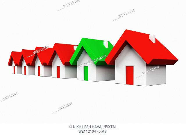 Row of red houses with one green - Environment concept
