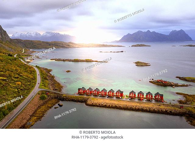 Aerial view of coastal road and houses surrounding Svolvaer, Nordland county, Lofoten Islands, Norway, Europe