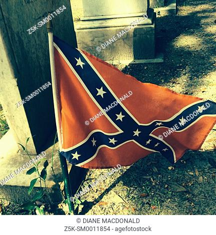 Confederate flag on a grave at the graveyard of Christ Church, St. Simon's Island, Georgia
