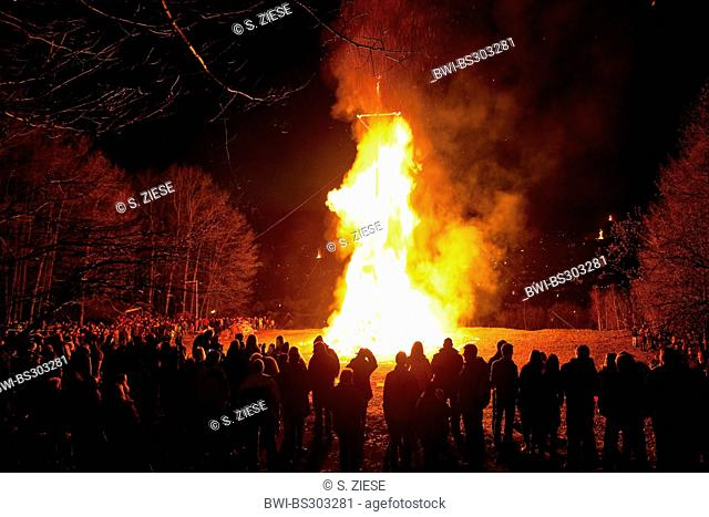 a lot of people standing around a big Easter fire, Germany, North Rhine-Westphalia, Sauerland, Attendorn