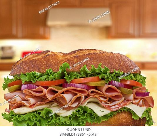 Close up of oversized sandwich