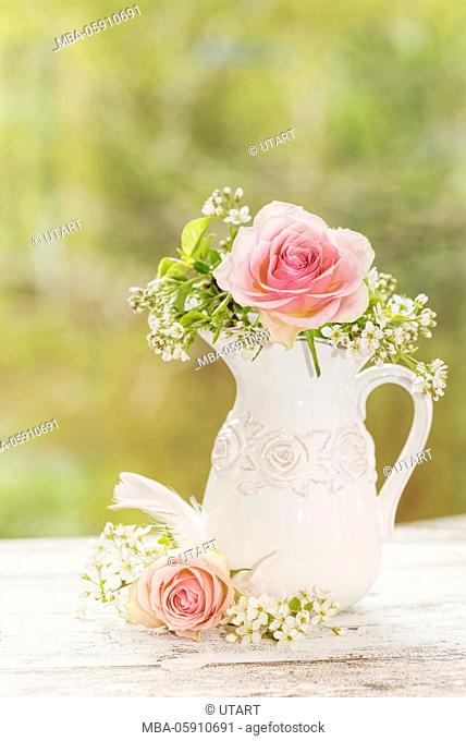 Jug, white, roses, rose, blossoms, white, feather, arrangement, wooden board