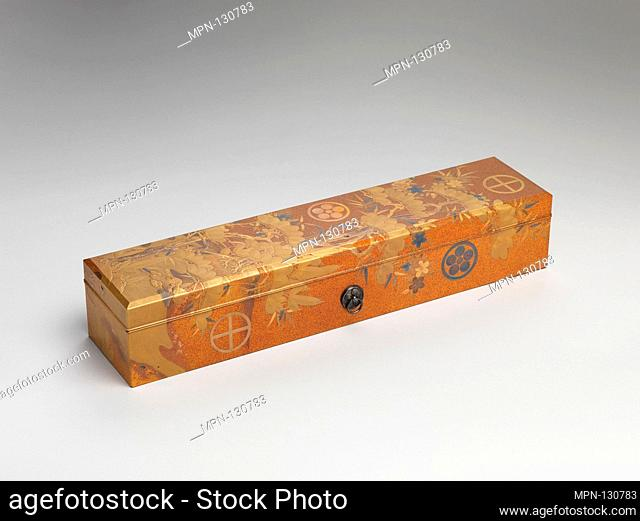 Box with Design of Pine, Bamboo, and Cherry Blossom. Period: Edo period (1615-1868); Date: 19th century; Culture: Japan; Medium: Sprinkled gold on lacquer...