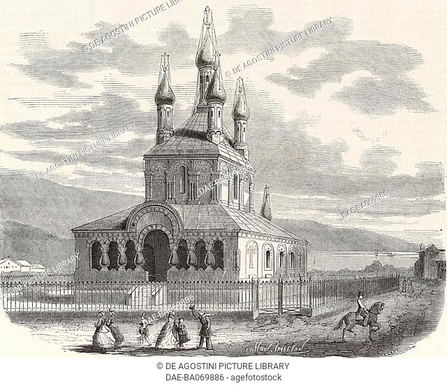 Russian church in Geneva, Switzerland, engraving by Cosson Smeeton from L'Illustration, Journal Universel, No 1208, April 21, 1866