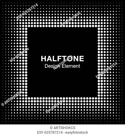 White Abstract Halftone Square Frame Background, vector illustration