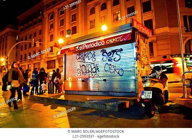 Closed kiosk at night. Barcelona, Catalonia, Spain