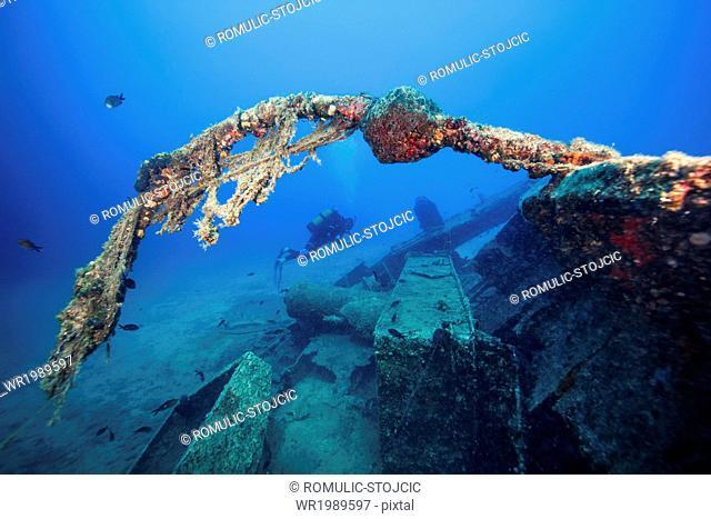 Scuba diver exploring shipwreck, Adriatic Sea, Dalmatia, Croatia