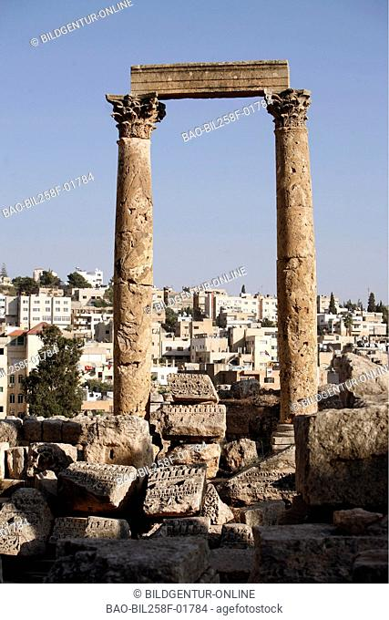 The old Roman ruins city of Jerash to the north of the city of Amman of the capital of Jordan in Arabia
