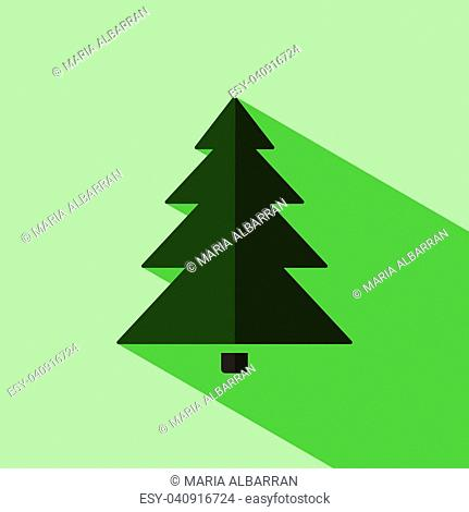 Christmas tree icon with shade. Color vector illustration