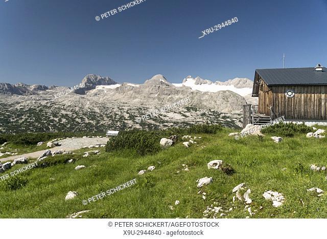 hut of the Obertraun mountain rescue, Dachstein massif, Austria