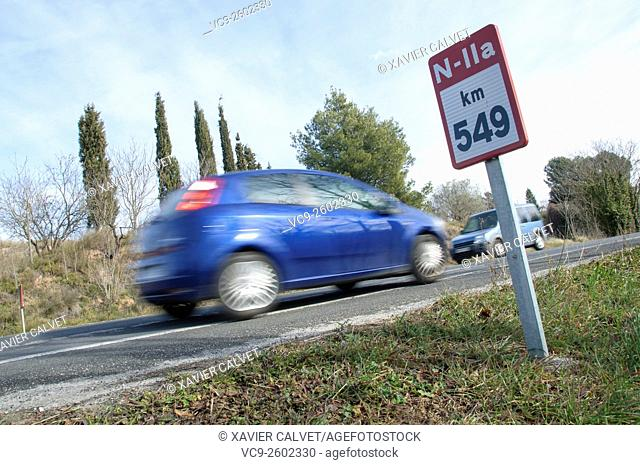 Car on the road with the motion blur