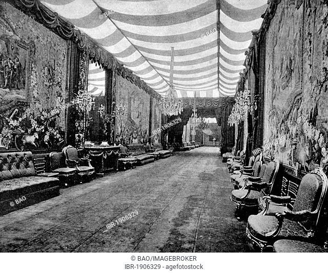 One of the first autotype photographs of La Grande Galerie des Fetes de L'Elysee, Paris, France, circa 1880
