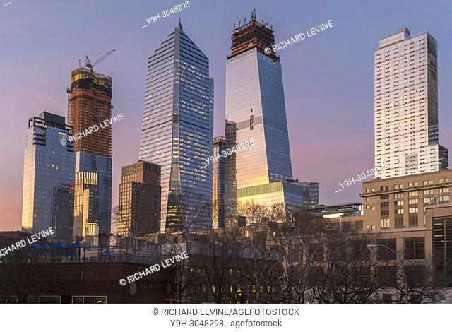 10 Hudson Yards, center left, 30 Hudson Yards, center right, and other Hudson Yards development in New York on Tuesday, February 13, 2018
