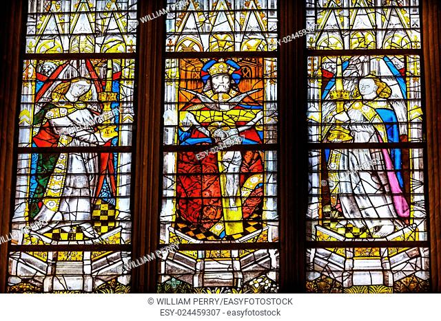 French King Stained Glass Saint Severin Church Paris France. Saint Severin one of oldest churches Paris located in the Latin Quarter