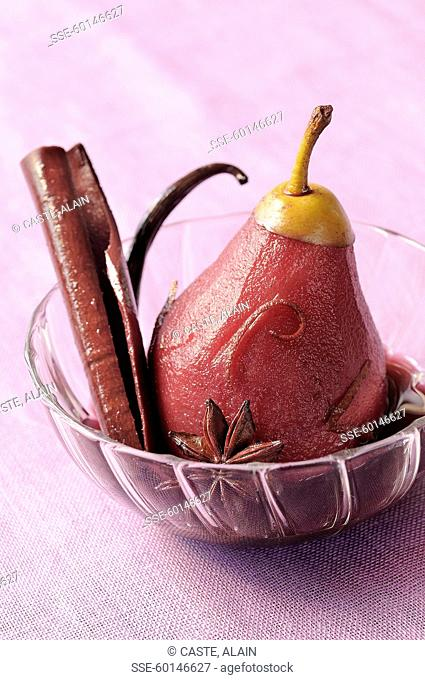 Pear poached in red wine and mild spices