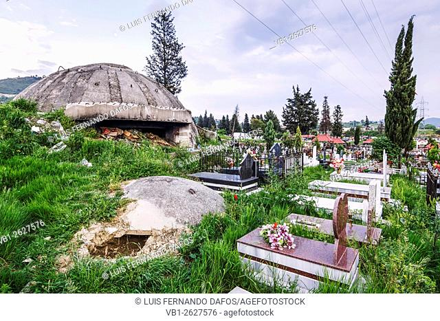 Old bunkers among the tombs of Sharra cemetery. Tirana, Albania