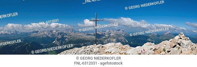Summit cross at the Heiligkreuzkofel, Dolomites, South Tyrol, Italy