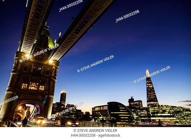 England, London, Southwark, London Bridge City, View from Tower Bridge of London Bridge City Skyline