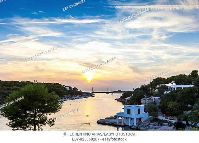 Sunset in Cala Santandria, south of Ciudadela, Minorca, Balearic Islands, Spain