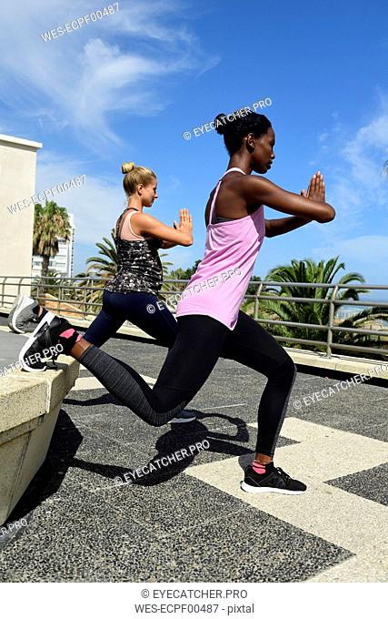 Two women doing fitness exercises outdoors