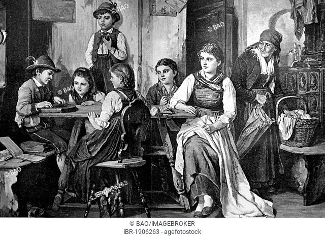 House music with zither, woodcut circa 1871
