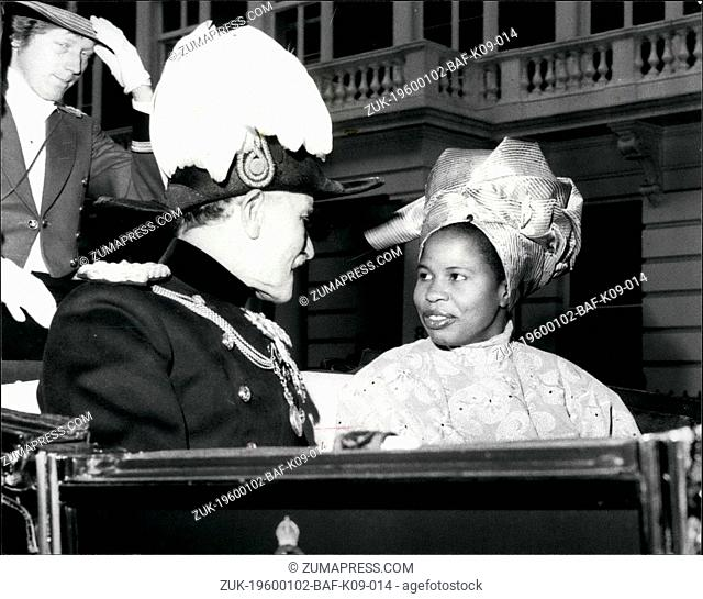 Dec. 16, 1963 - High Commissioner for Gambia Presents Her Credentials to the Queen at Buckingham Palace. H.E. Miss L.P. Chibesakunda the High Commissioner for...