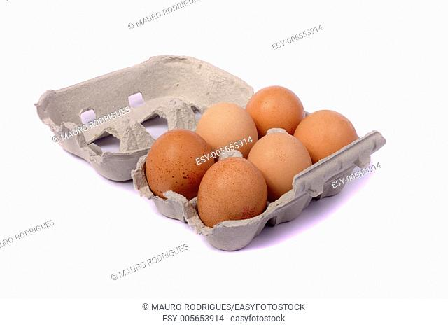 Close up view of a six pack egg card-box isolated on a white background