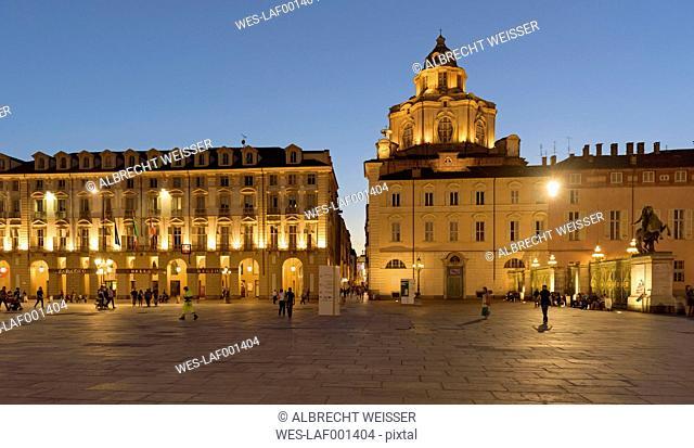 Italy, Piemont, Turin, Piazza Castello, Church of San Lorenzo