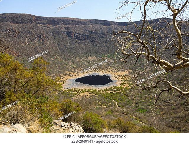 View of the volcano crater where Borana tribe men dive to find salt, Oromia, El Sod, Ethiopia