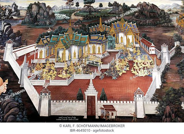 Buddhist temple complex with scene from Ramakia, wall painting in Wat Phra Kaeo, Ko Ratanakosin, Bangkok, Thailand