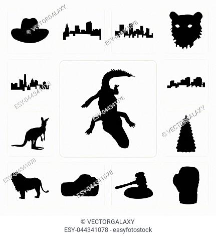a775d893df1b9 Set Of 13 simple editable icons such as alligator outline on white  background