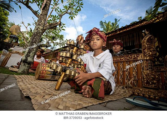 Children of a gamelan orchestra at an event, Ubud, Bali, Indonesia