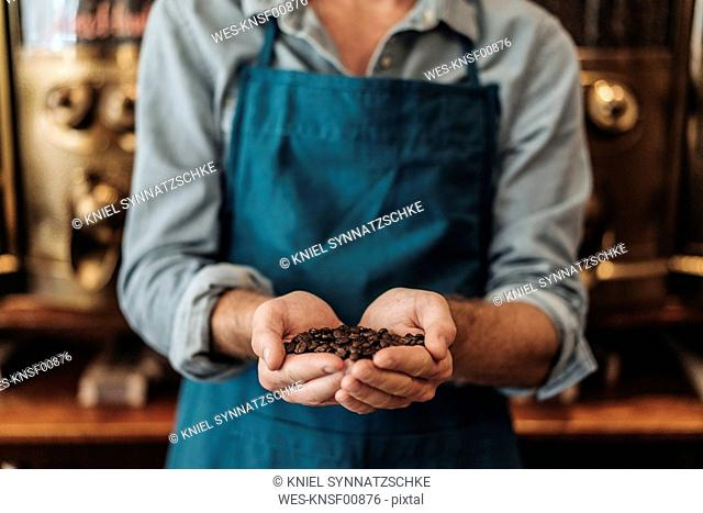 Close-up of coffee roaster in his shop presenting handful of coffee beans