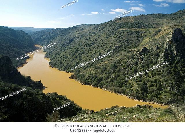 Duero river, between Portugal, to the right of this photo, and Spain, to the left  Arribes del Duero Natural Park  Pereña