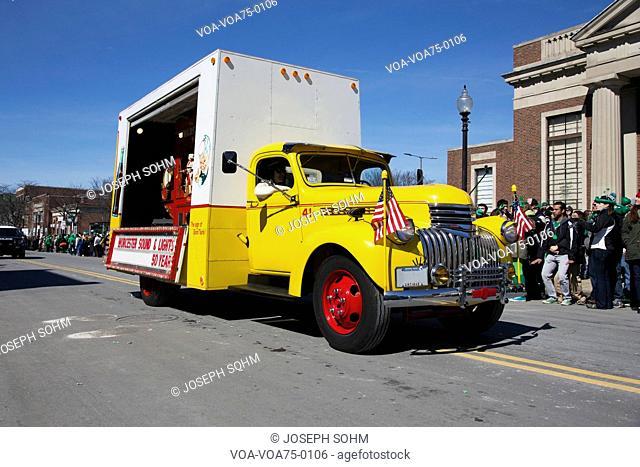 Vintage Yellow Coke Truck, St. Patrick's Day Parade, 2014, South Boston, Massachusetts, USA