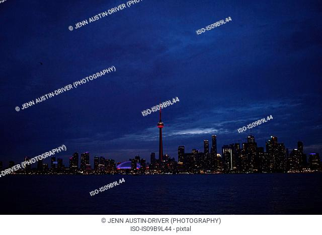 Toronto skyline, at night, Toronto, Canada