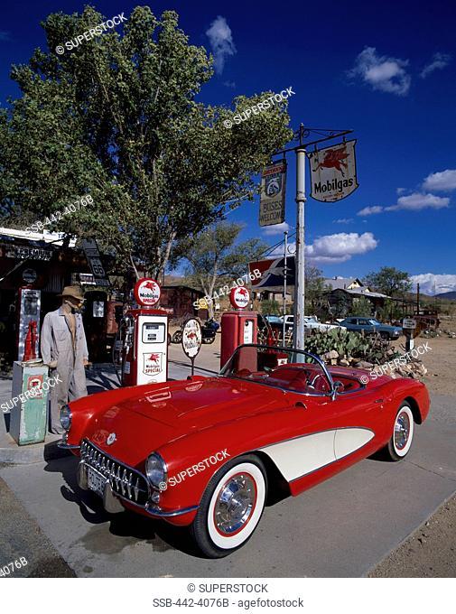 Car at a gas station, 1957 Chevrolet Corvette, Hackberry, Arizona, USA