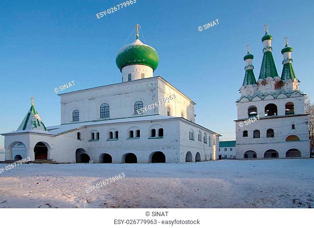 LODEINOE POLE, LENINGRAD OBLAST, RUSSIA - January, 2016: The Holy Trinity Alexander Svirsky Monastery in winter day
