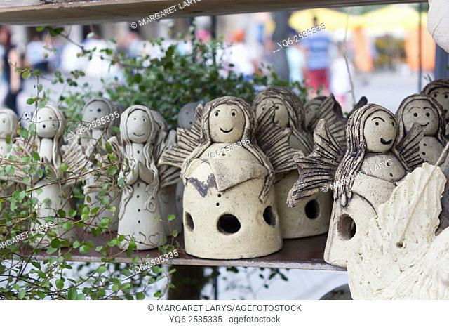 Beautiful handmade souvenirs in the market in Krakow, Poland