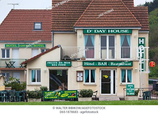 France, Normandy Region, Calvados Department, D-Day Beaches Area, St-Laurent Sur Mer,, WW2-era Omaha Beach, D-Day House Hotel and Bar