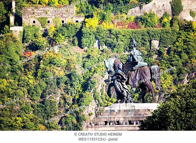 Germany, Rhineland-Palatinate, Koblenz, Deutsches Eck, Monument of Kaiser Wilhelm I