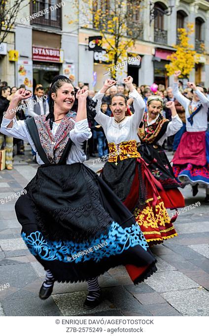A Asturias regional dancers view in Preciados street, Madrid city, Spain