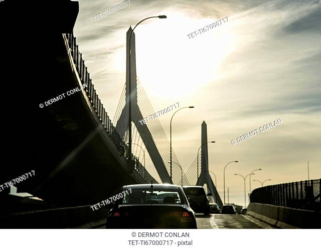 USA, Massachusetts, Boston, Traffic on ramp of Leonard P. Zakim Bridge